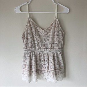 NWT Maurices Tan Tank Top with White Lace Overlay